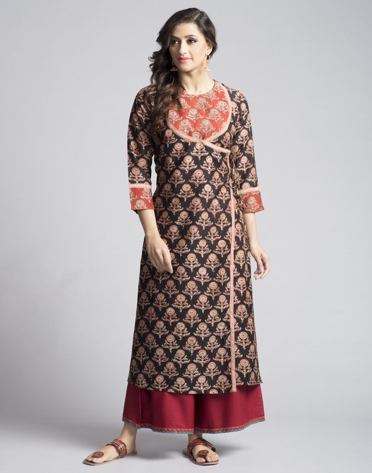 Silk Cotton Anghrakha Contrast Detail Long Kurta