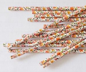 Paper Straws Floral Orange 25 pack