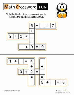 Math Crosswords for Kids Worksheet