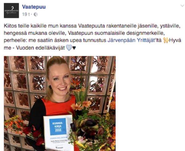 Vuoden edelläkävijäyritys Vaatepuu ja Soile-Maria Linnemäki.