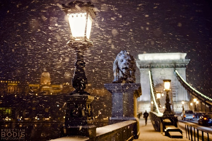 Budapest Chain Bridge | Snowy Evening. view on Fb https://www.facebook.com/BudapestPocketGuide credit: Krisztian Bodis #budapest