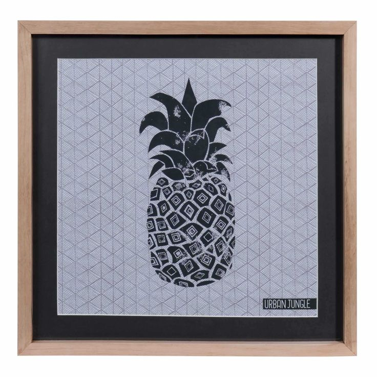 tableau ananas en bois et verre 28 x 38 cm urban maisons du monde pineapple ananas. Black Bedroom Furniture Sets. Home Design Ideas