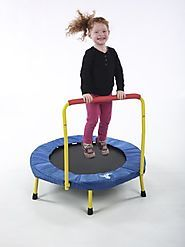 Kids Trampoline With Handle And Music | The Original Toy Company Fold & Go Trampoline (TM)