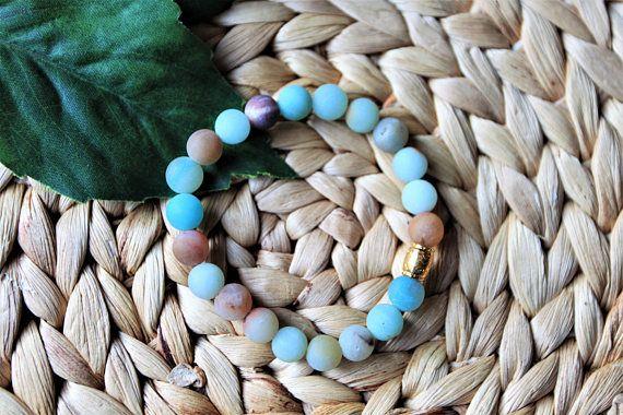 Matte Amazonite Beaded Bracelet  Womens Gemstone Bracelet