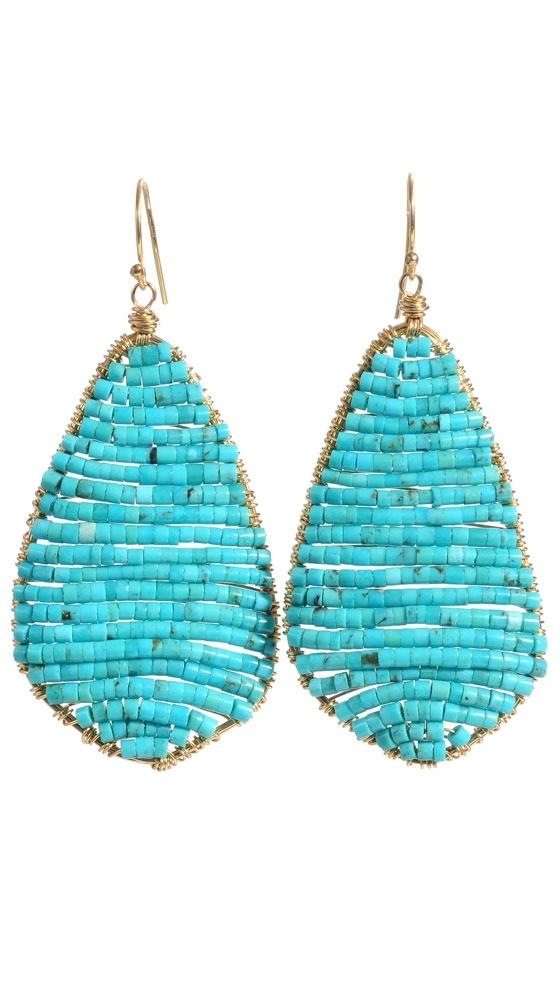 Elsa Earring by Amanda Sterett: Beautiful Earrings, Elsa Earrings, Wire Earrings, Beads Earrings, Seeds Beads, Turquoise Earrings, Leaf Earrings, Amanda Sterett, Turquoise Beads