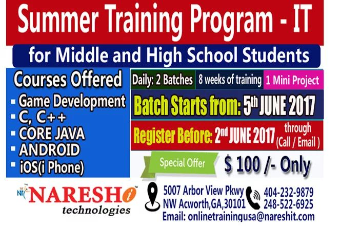 #Summer IT Training #Program for #Middle and #High Schools Students. #USA #Inida  Reg: https://goo.gl/yieHKu   #Software #Training #in #USA #Best #Softw... - Naresh IT - Google+
