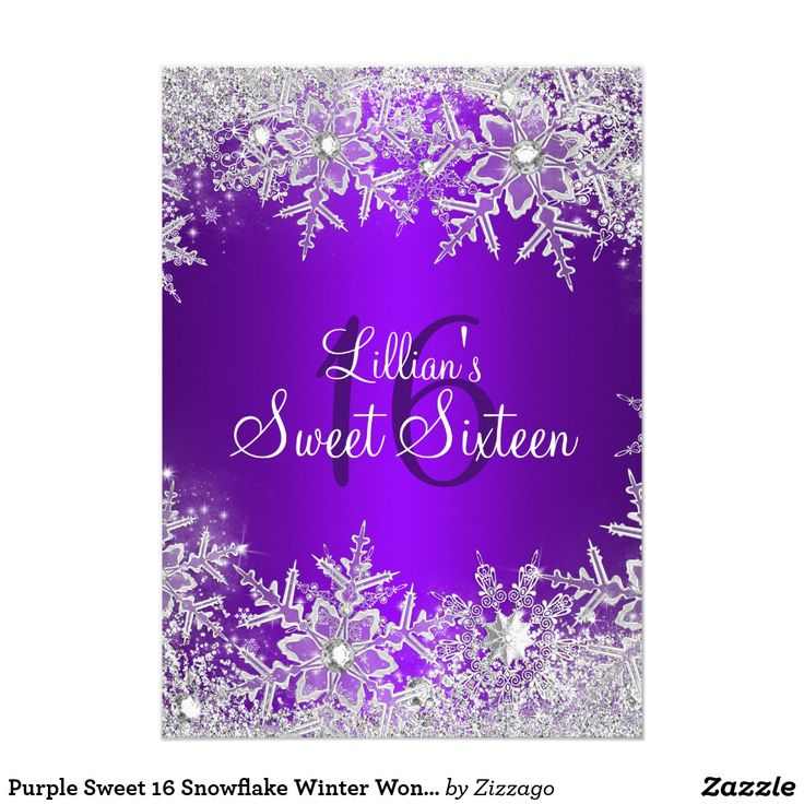 Purple Sweet 16 Snowflake Winter Wonderland Card Purple & Silver Winter Wonderland Sweet 16 Birthday Invitation. Elegant diamond snowflake design. Please note: All flat images, They do not have real jewels!