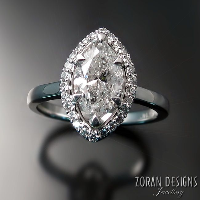 Spectacular Custom made engagement ring marquise diamond with halo in K white gold Zoran Designs Jewellery
