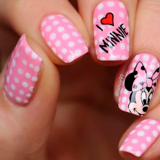 Cute Minnie Mouse Nail Art #girlynails #minnienails ★ There is so much more to pink and white nails than you have ever …