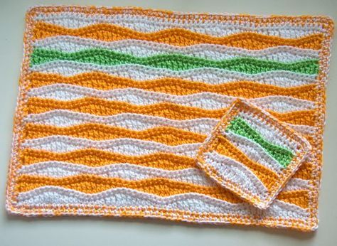 Summer Waves Placemat and Coaster free crochet pattern - 10 Free Crochet Placemat Patterns