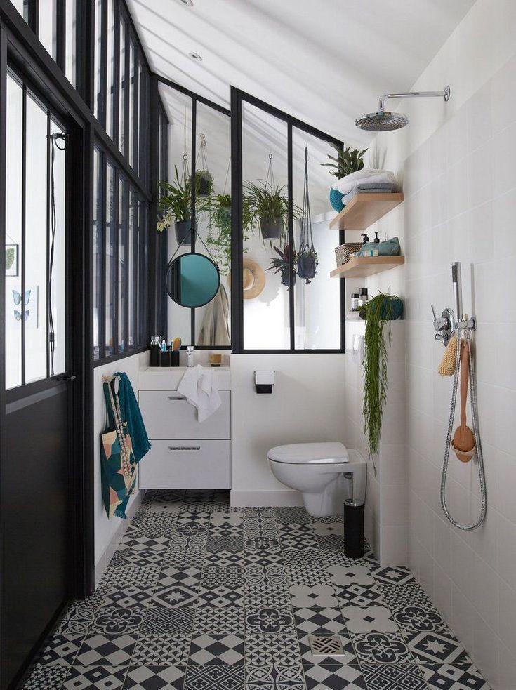 Schwarz Weiss Zementfliesen Im Badezimmer Badezimmer