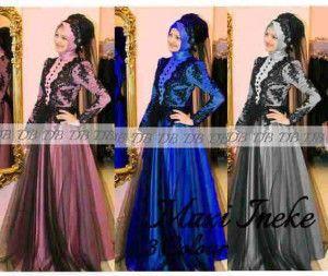 Model baju pesta muslim mewah renda maxi inneke