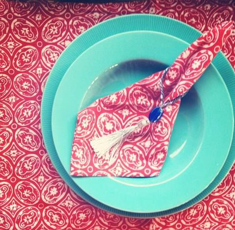 Set placemat and red napkin,