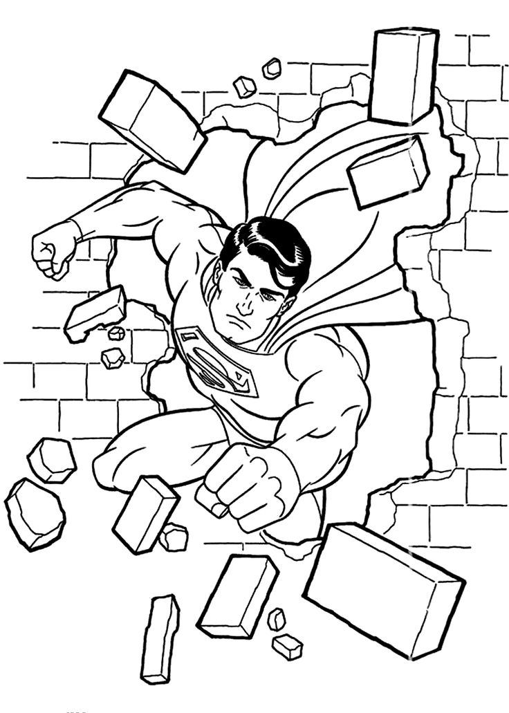 Superman Coloring Pages Break Printable Free