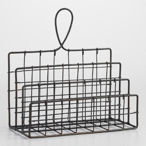 One of my favorite discoveries at WorldMarket.com: Espresso Wire Carter Letter Holder