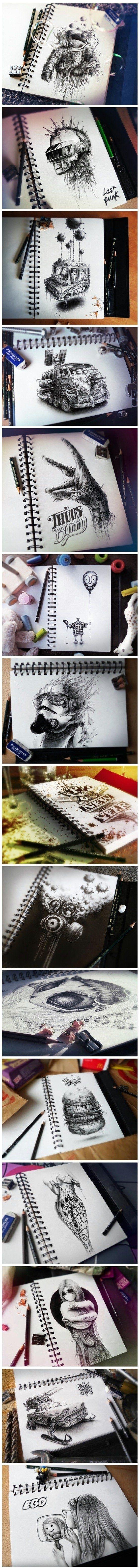 Geniale Bleistiftzeichnungen eines französischen Künstlers - Win Bild | Webfail - Fail Bilder und Fail Videos