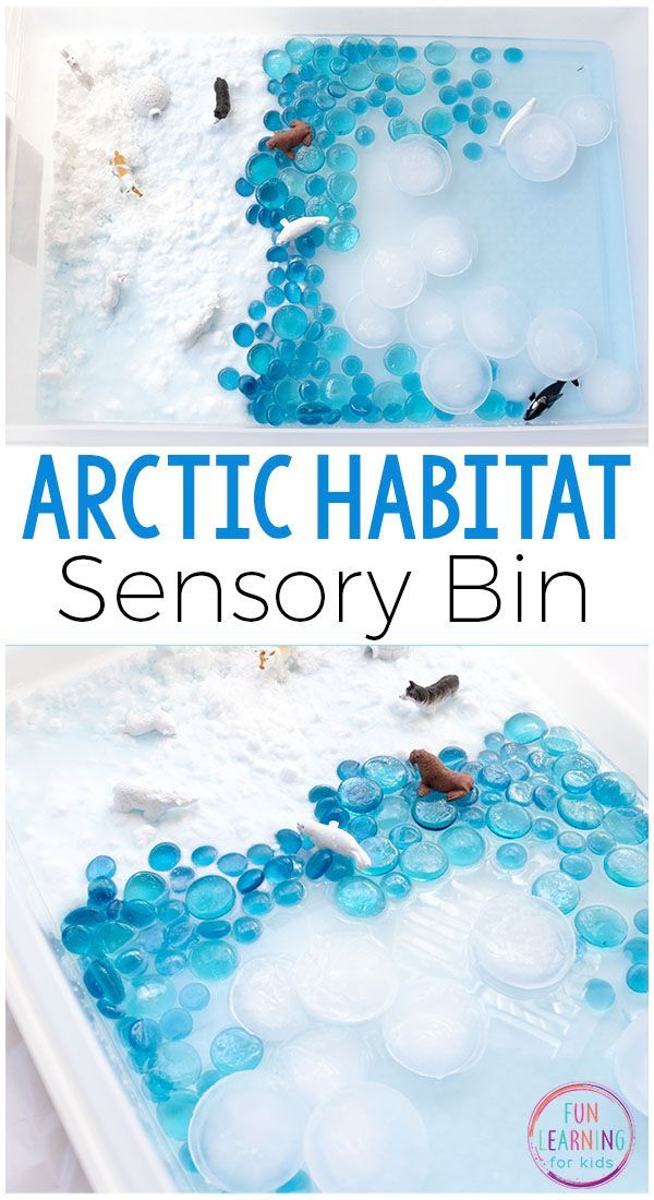 Arctic sensory bin for winter fun and learning. Kids will love learning about the arctic habitat while engaging in sensory play. #winteractivitiesforkids #preschool #sensorybin #arcticanimals