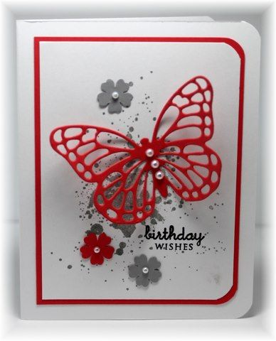 Stampin up Butterfly Framelit, Birthday, Itty Bitty Backgrounds, Petal Punch