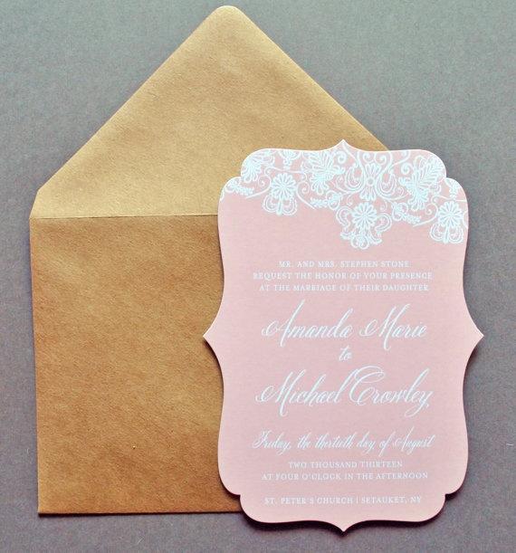 Blush Wedding Invitations, Blush and Kraft Invitations by Whimsy B. Paperie, $5.25 My Bellissima | NJ & NYC Wedding Planner