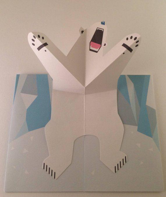 Pop Up Eisbär Arktis Grußkarte! Weihnachten Vatertag Geburtstag PopUp Karte 3D   – DIY und Selbermachen