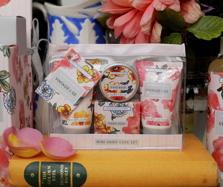 VINTAGE & CO PATTERNS AND PETALS Compact hand care with zip lock closure; carry Vintage & Co gentle hand wash, hydrating hand cream, softening hand soak and soothing hand balm and enjoy great design practically packaged.