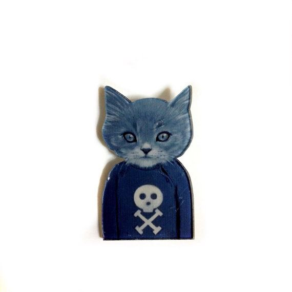 Rocker geeky Gray Cat Wearing a Sweater With A skull Toxic Print / Cool Funny Acrylic / Plastic Animal brooch Pin -Rock & Roll Gift Souvenir