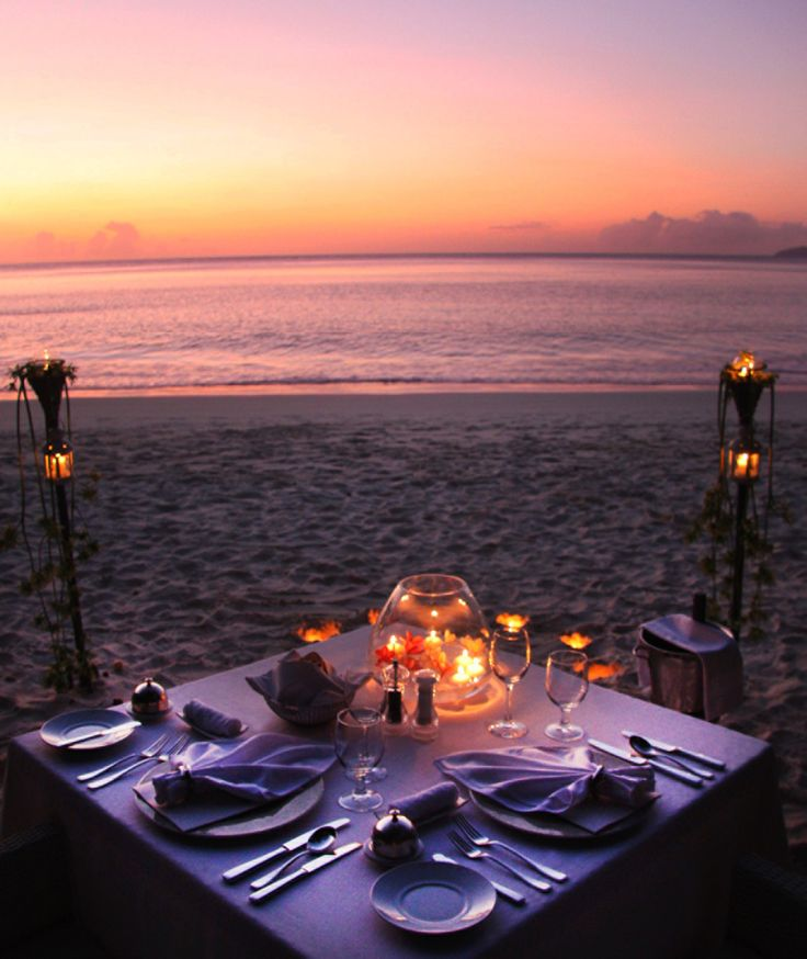 The beach is all yours tonight. Your seaside table is set at @Four Seasons Resort Seychelles.