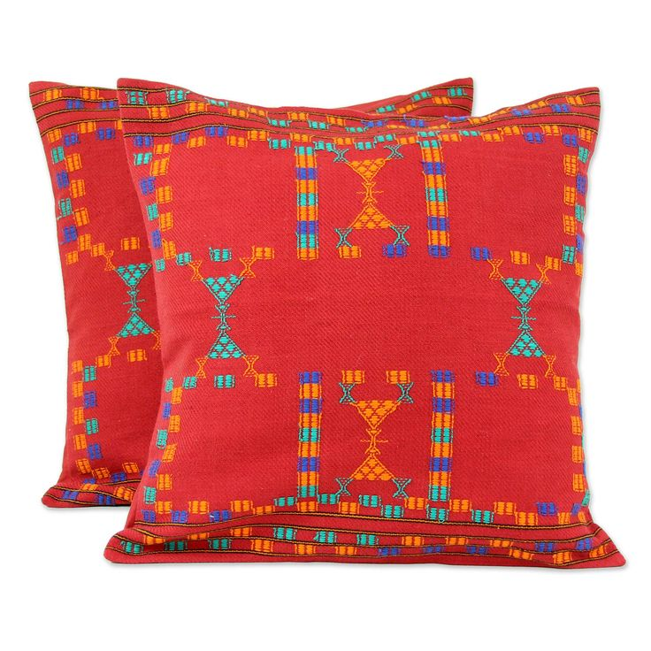 Cotton Red Cushion Covers Set 2 Throw Pillows - Sequences | NOVICA