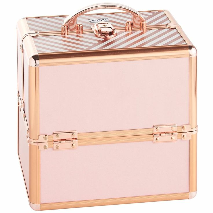 "Beautify Cosmetic Organizer Case - 10"" Professional Aluminum Makeup Storage Box (Blush Pink Stripe Beauty Train Case with Lock). Add a professional look to your beauty storage with the Beautify Blush Pink Vanity Case. 
