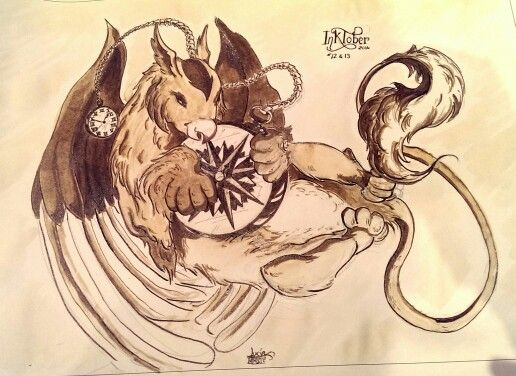 "Days 12 & 13: A ""tempus"" griffin, for #INKtober 2014."