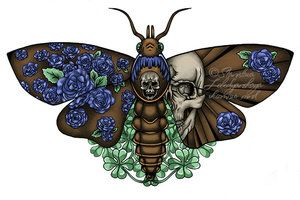 meaning of moth tattoos | The Moth with Love and Death by Stanislava-Korn