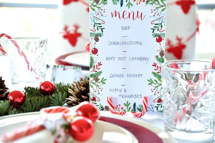 Free Printables: menukaarten, servetringen en naamkaartjes voor de kersttafel