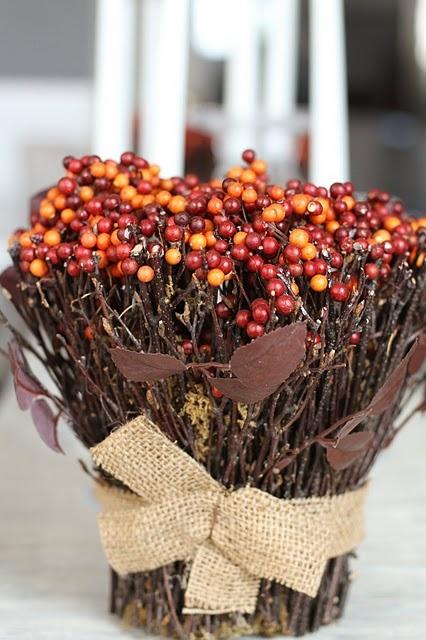 Fall Berry Centerpiece : Stick and berry arrangement glue sticks around old tin