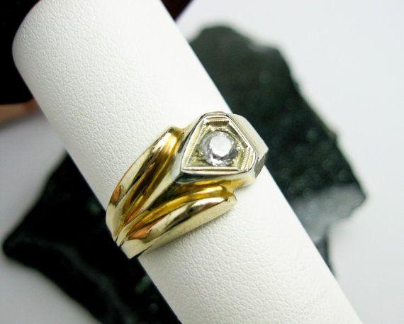 1935 Art Deco 2 Tone 14k Gold Gents Ring w. White Sapphire, USA.  by TampicoJewelry, $295.00