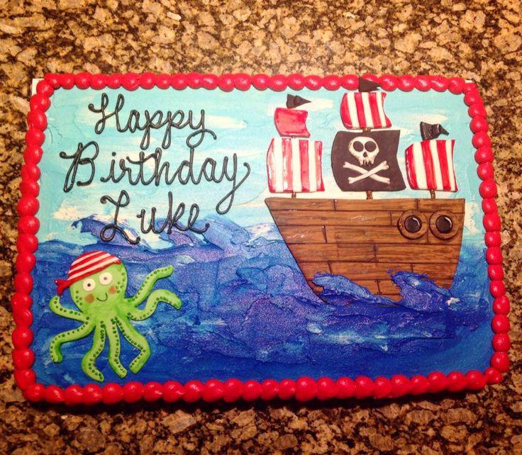pirate themed sheet cake. #piratecake #birthdaycake #pirate #firstbirthday