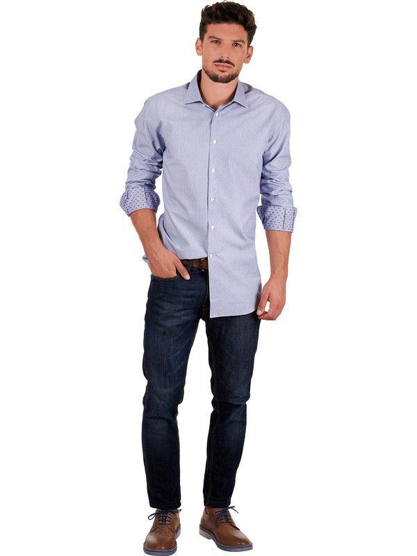 Blue men's shirt with polka dot fabric Delsiena