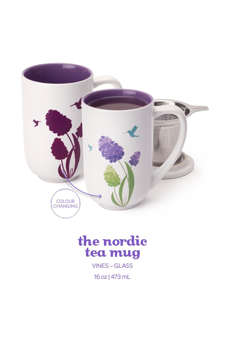 When you pour hot water into this infuser mug, the design changes colour!