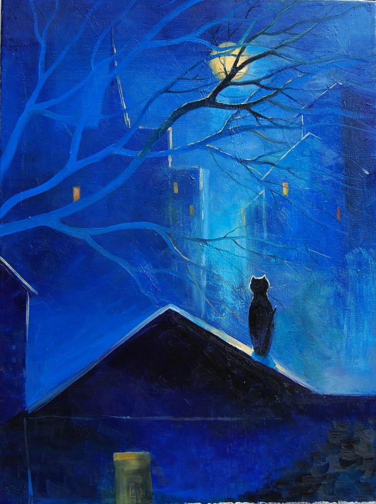 Dreamer: Cat Art, Oksana Sulimova, Moon, Cat Fine Art Paintings, Moon Art, The Dreamers, Blue Moon, Black Cat, Midnight Blue
