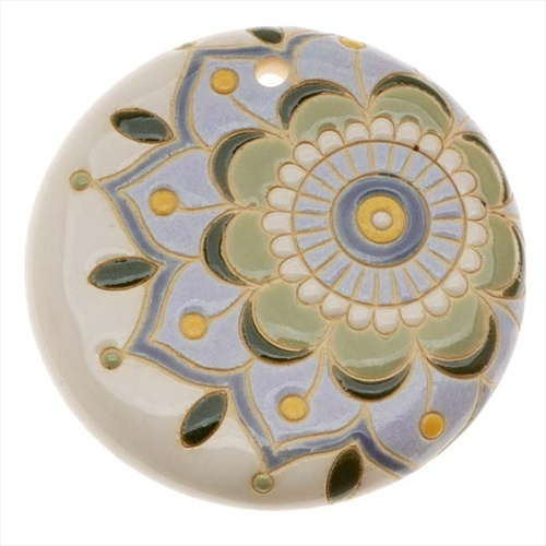 GOLEM DESIGN STUDIO GLAZED CERAMIC DISC PENDANT SPANISH TILE FLOWER 45MM 1 from beadaholique.com