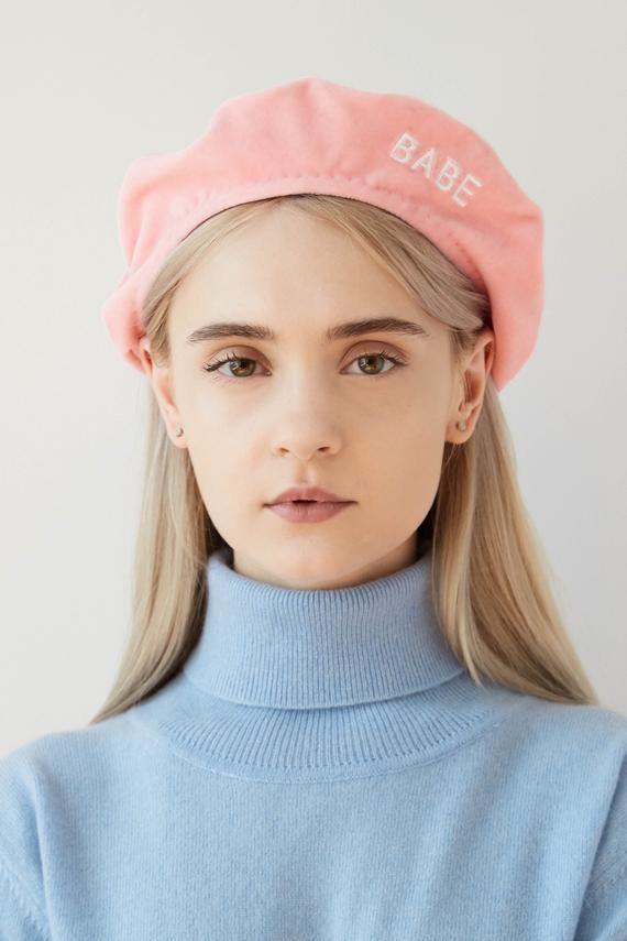 6ae812538cabd4 LINDA Blush pint velvet beret with embroidery, pink velvet beret, cotton  velvet beret, pink beret hat, blush pink beret, blus… | BERETS F/W  2018-2019 in ...