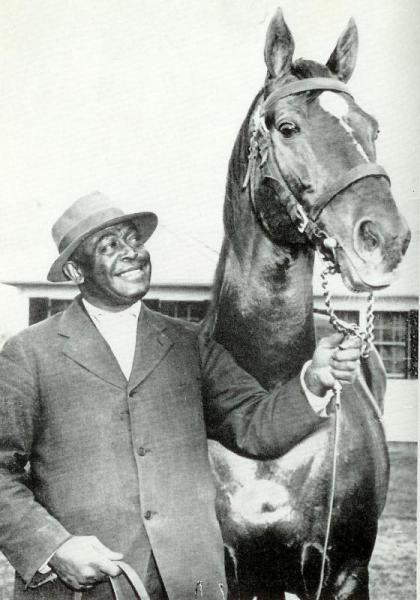 Man O' War with beloved groom Will Harbut. Man O'War died just 4 weeks after Will's passing, those close said it was of a broken heart, missing his best friend. Man O' War was the first horse to be embalmed, and the casket was lined in his racing colors. His funeral was broadcast internationally on the radio, with thousands paying their respects and sending condolences.