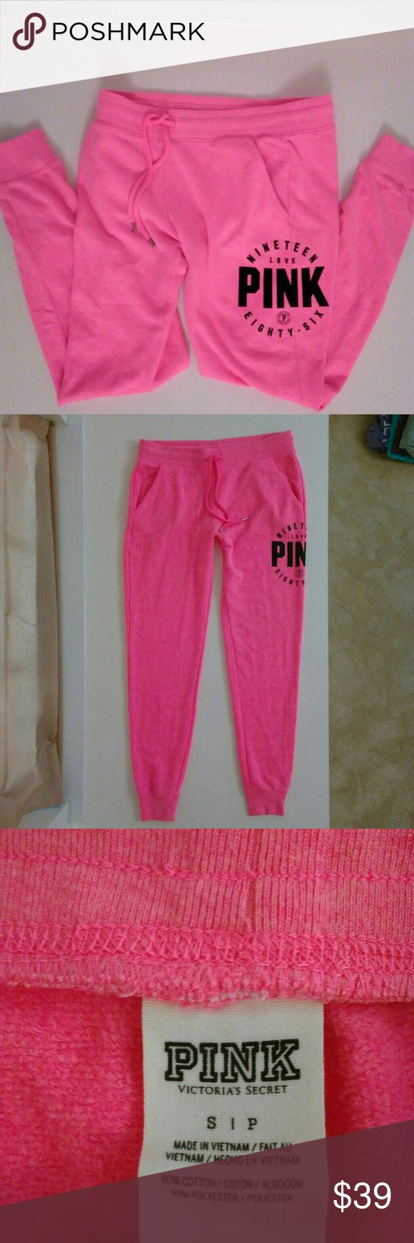 Victoria's Secret PINK Sweat Pants Joggers Lounge Victoria's Secret PINK Sweat Pants Lounge Pajama Bottoms Gym College   Womens Size Small   Lovely shade of pink with PINK logo at the left outer thigh area.   No flaws - no pilling, no fading; these look as if they have never been worn. PINK Victoria's Secret Pants Track Pants & Joggers