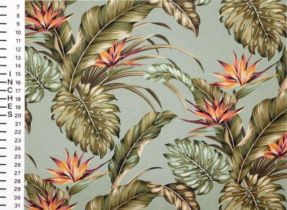 Fabric Bird Of Paradise Monstera Leaf By Hawaiianfabricnbyond Motif