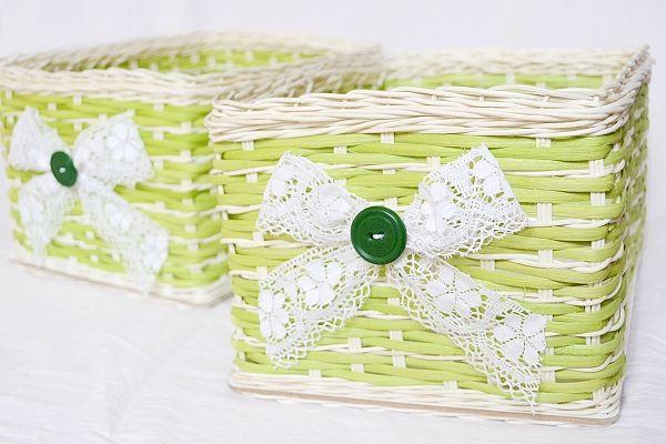 zelené košíky do kúpeľne