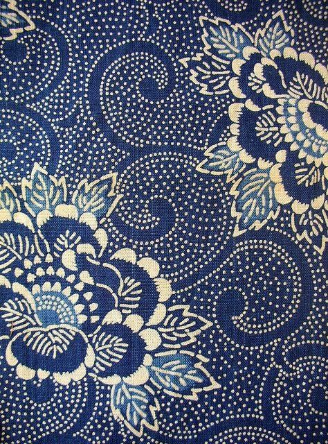 Vintage Katazome fabric, traditional Japanese stencil & paste resist #textile #pattern by Jadedgold1