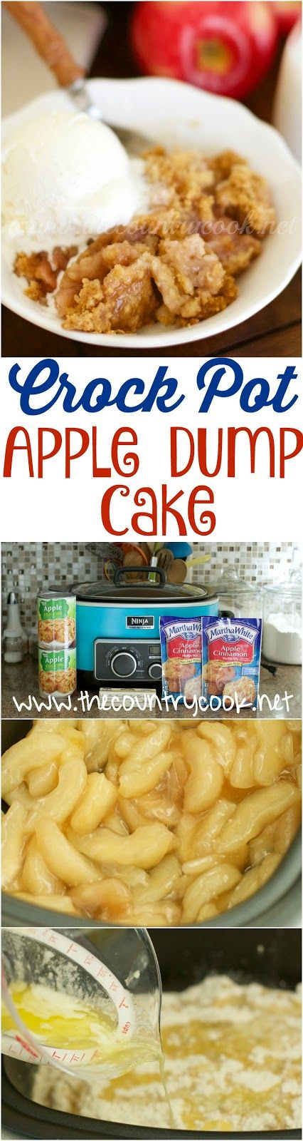 Crock Pot Apple Dump Cake recipe from The Country Cook. Only 3 ingredients! Plus, I can easily change up the flavors with cherry or strawberry or peaches. We all love this stuff and it's a bonus to be able to make it in the crockpot. Definitely saving this one for the holidays when oven space is at a premium!