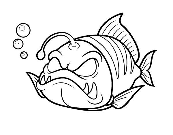 Dibujo de Pez linterna para colorear Dibujos de Animales