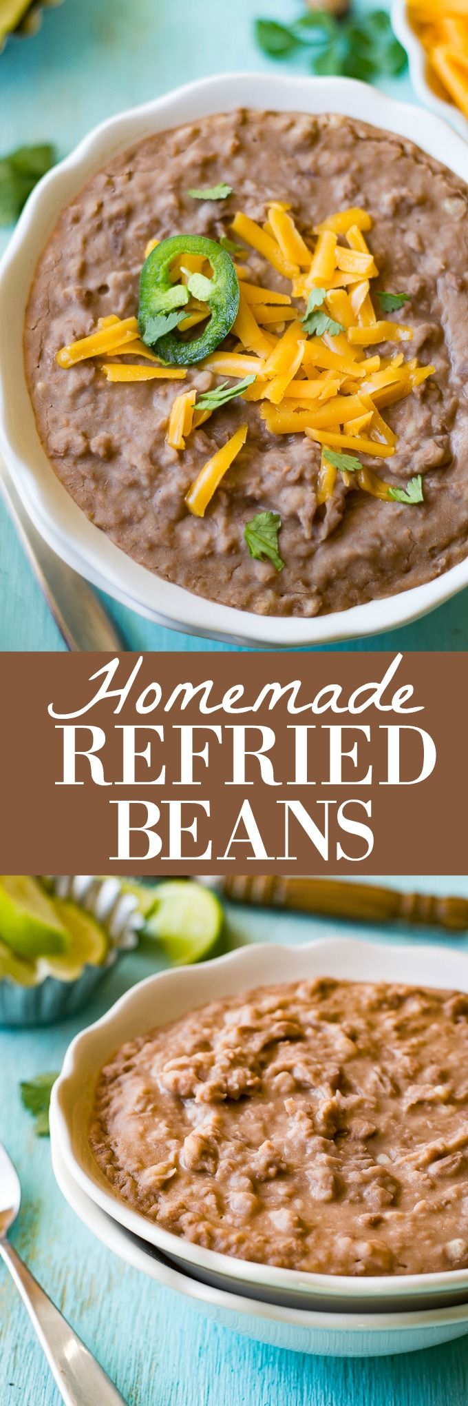 Homemade Refried Beans! Quick and easy! Only 2 ingredients. These are the perfect side dish to any mexican meal, or any meal. I'm so excited to share today's recipe with you! Homemade Refried Beans. These are so easy and so so flavorful. You will never want to eat the canned beans again!