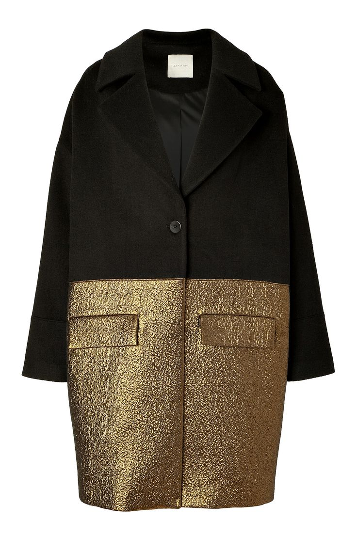 Black Wool-Blend Combo Coat by HAKAAN | Luxury fashion online | STYLEBOP.com