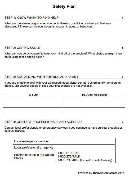 Safety plan worksheet adolescence suicidal ideations for Mental health crisis management plan template